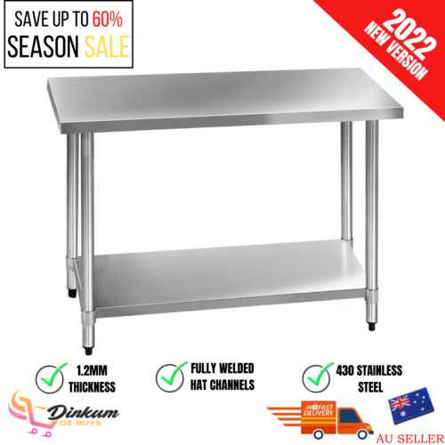 Large Commercial Stainless Steel Bench Table Home Kitchen Work Food Grade Prep