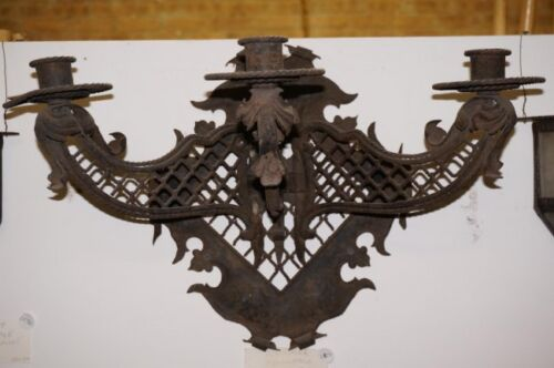 Early  Antique Argentine Gothic HAND made Wrought Iron  wall Sconce