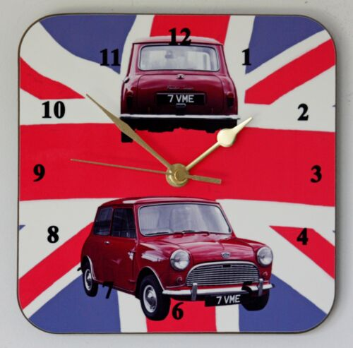 Square Wall Clock of a Classic Austin Seven Mini on Union Flag Size 19cm by 19cm