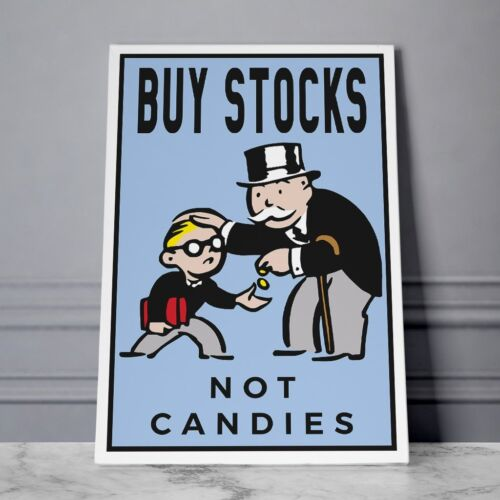 """Alec Monopoly Oil Painting on Canvas,""""Buy Stocks Not Candies""""  24x36inch"""