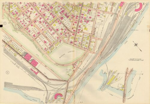 1914 PORTLAND. MAINE WEST END & WESTERN CEMETERY EMERY ST - FORE RIVER ATLAS MAP