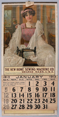 Antique 1913 New Home Sewing Machine Tin Top Advertising Calendar Complete 12-Mo