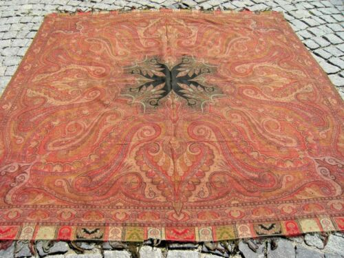 Stunning Antique Awesome Indian Collector's Piece Distressed Kashmir Shawl Cover