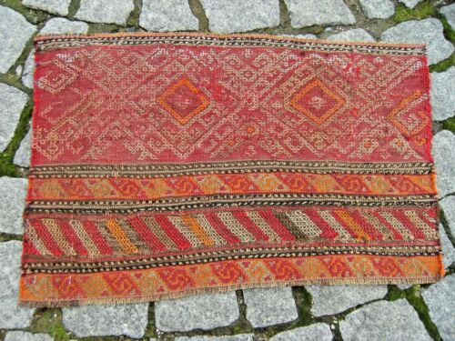 Fabulous Antique Awesome Caucasian Collector's  Fragment Verneh Kilim Bag Face