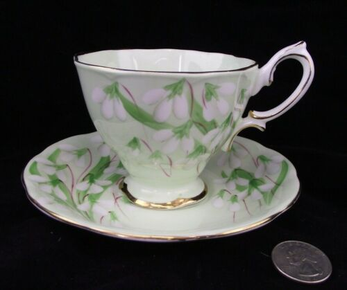 ROYAL ALBERT CROWN CHINA LAURENTIAN SNOWDROPS TEA CUP AND SAUCER