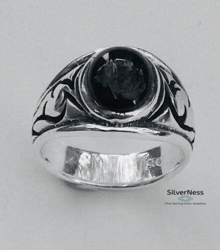 SilverNess Men's Jewellery Black Onyx  Ring: 925 Sterling Silver
