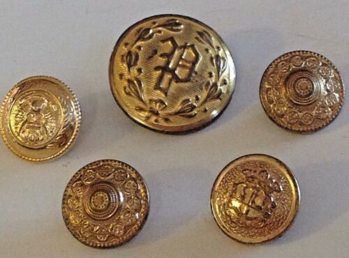 Brass Metal Sewing Buttons Filigree Vintage Lot 5