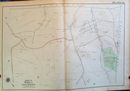 1917 NEWTON MASSACHUSETTS OAK HILL MT. BENEDICT CEMETERY ATLAS MAP