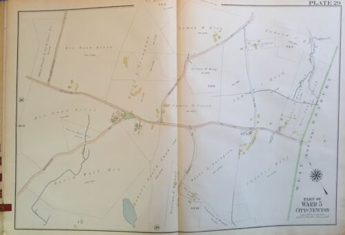 1917 NEWTON MASSACHUSETTS OAK HILL SCHOOL CHARLES RIVER COUNTRY CLUB ATLAS MAP