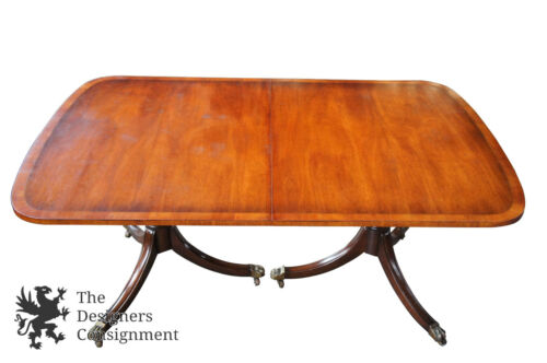 """Kittinger Antique Duncan Phyfe Style Banded Mahogany Dining Table Claw Feet 68"""""""