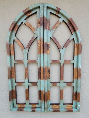 "2 Wooden Antique Style Church WINDOW Frame Shutters Wood Gothic 36"" Shabby Green"