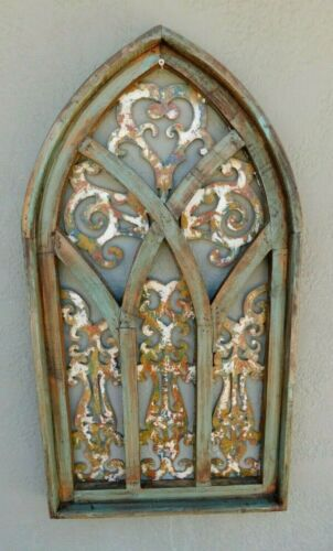 """Wooden Antique Style Church WINDOW Frame Primitive Wood Gothic 31"""" GREEN"""