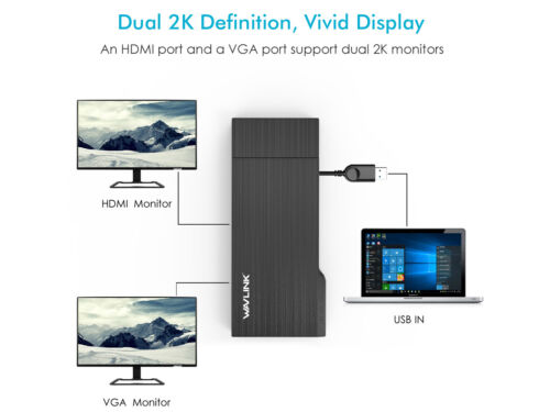 USB3.0 Mini docking, 2K HDMI,1080P VGA Multi-Display with Gigabit Ethernet&USB-A