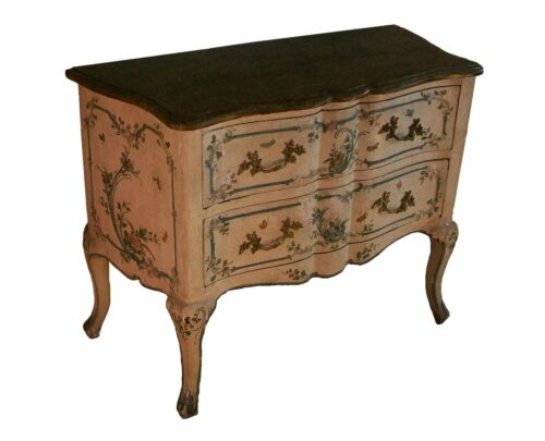 Italian Rococo Floral & Butterfly Painted Chest of Drawers - Mid 19th Century