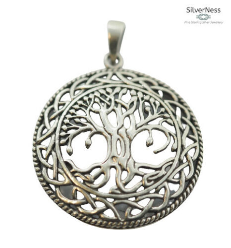 SilverNess Jewellery Large Tree of Life Pendant: 925 Sterling Silver