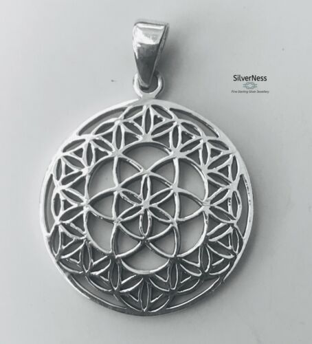 SilverNess Jewellery Flower of Life Pendant: 925 Sterling Silver