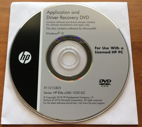 Application and Driver Recovery DVD HP Elite x360 1030 G2 WIN 10 - Brand New