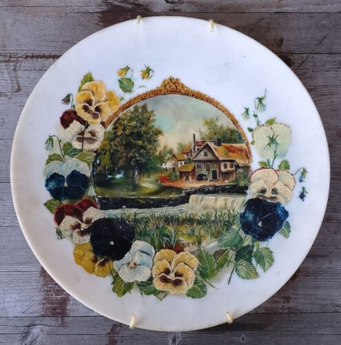 Superb Victorian Handpainted Opaque Satin Glass Plate, Signed