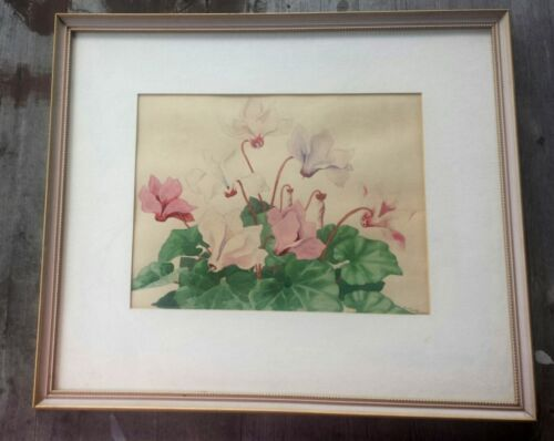 Fin-de-Siecle Arts & Crafts Botanical Watercolor Cyclamens Anne Louise Chestnut