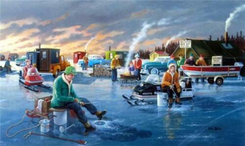 Back in the Day By Ken Zylla Snowmobile Ice Fishing Print  12 x 8