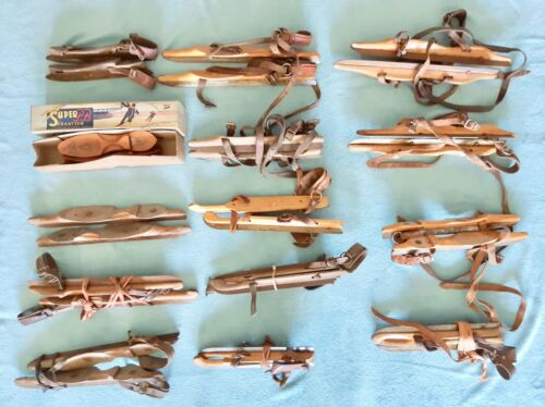 Collection of 14 Antique Dutch Wood and steel Ice Skates #A
