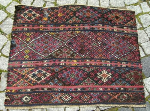 Fabulous Antique Rug Madder Collectors Piece Anatolian Distressed Kilim Bag Face