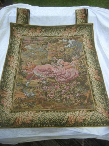 Fine Tapestry Wall Hanging French Woman/girl on Swing