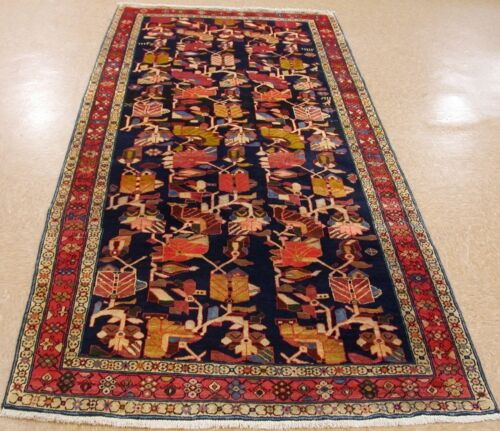 Persian Rug Meshkin Tribal Hand Knotted Wool NAVY RED Oriental Runner 4.5 x 10