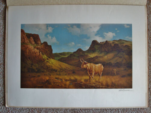 """Franklin Mint EMBOSSED Lithograph Print """"Texas Longhorn"""" SIGNED - Robert Summers"""