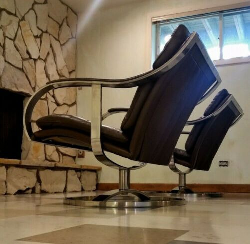 2 Mid Century Gardner Leaver Steelcase Lounge Chairs Leather & Chrome Nickel