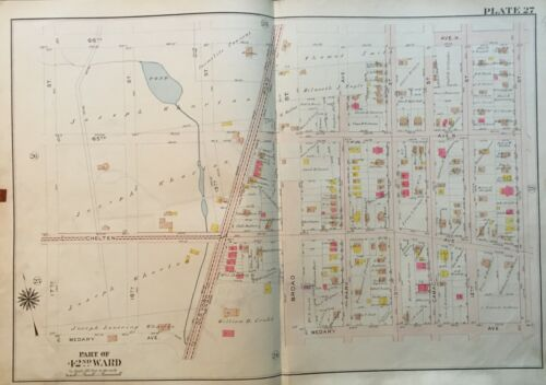 1913 EAST OAK LANE PHILADELPHIA, PENNSYLVANIA 11TH TO 17TH STREET ATLAS MAP
