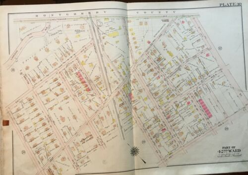 1913 PHILADELPHIA, PENNSYLVANIA OAK LANE CHURCH & ST. MARTIN'S CHURCH ATLAS MAP