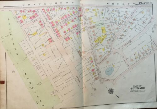 1913 PHILADELPHIA, PENNSYLVANIA OAK LANE CHURCH NORTHWOOD CEMETERY ATLAS MAP