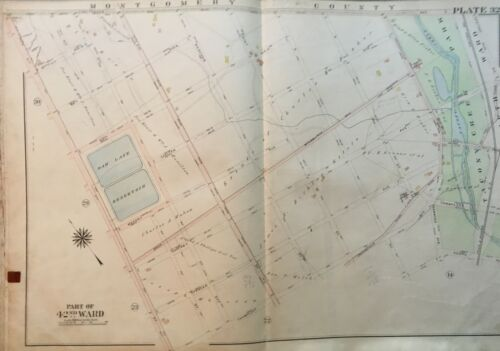 1913 PHILADELPHIA, PENNSYLVANIA OAK LANE RESERVOIR TACONY CREEK PARK ATLAS MAP