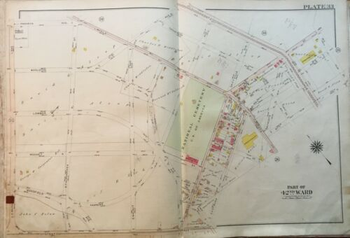 1913 WEST OAK LANE PHILADELPHIA, PENNSYLVANIA NATIONAL CEMETERY ATLAS MAP