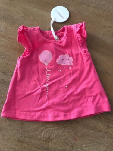 New Fox & Finch Baby Shortsleeve T-shirt Tee Pink Size 00 6 Months RRP $37