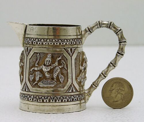 Colonial India Solid Silver Cream Pitcher c1900 with Figural Dancer