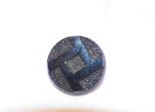 Victorian Black Glass Button Pressed Square Small Size for Antique Clothing