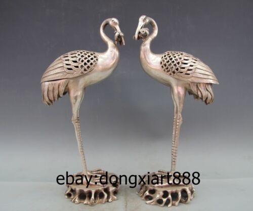 """15"""" Chinese Buddhism Tibet Silver red-crowned crane Incense Burner Censer Pair"""