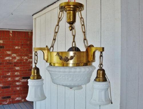 Salvaged Elegant Antique Colonial Revival 4 Bulbs Ceiling Lamp Chandelier