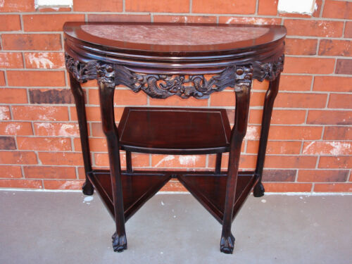 Late 18th / 19th C. Chinese Demi-Lune Marble Top DRAGON Table - YUEYAZHUO