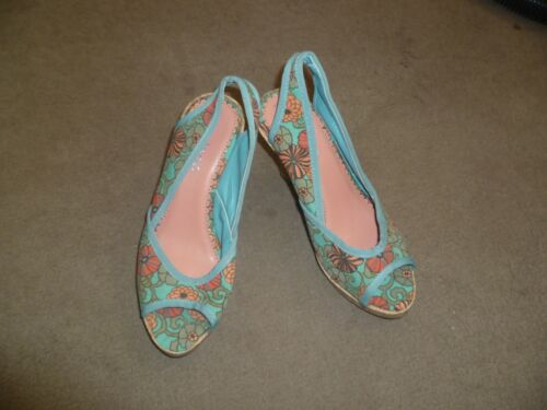 New Without Box Women's Odeon Turquoise Floral Slingback Peep Toe Shoes Size 3