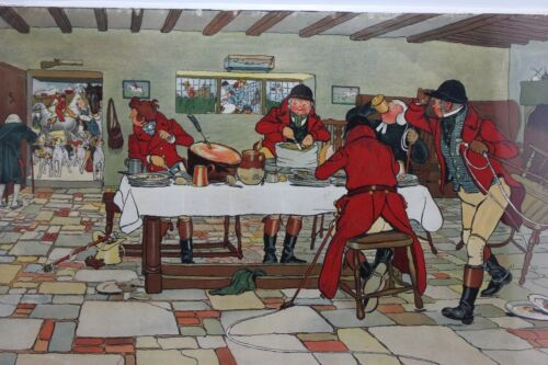 ANTIQUE 1900 FALLOWFIELD HUNT CECIL ALDIN CHROMOLITHOGRAPH on cardboard