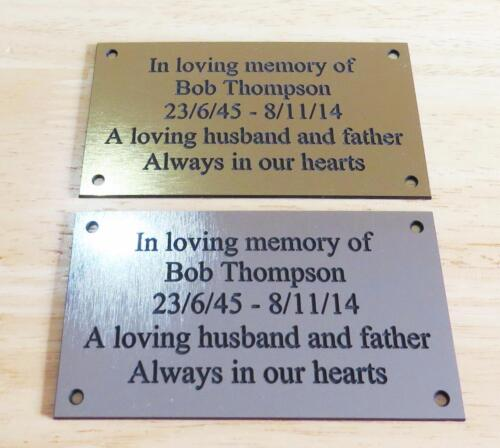"Brass/Silver Effect Personalised Engraved Memorial Plaque 11cm x 6cm (4.3""x2.4"") <br/> Ideal celebration plaque for Christmas / New Year"
