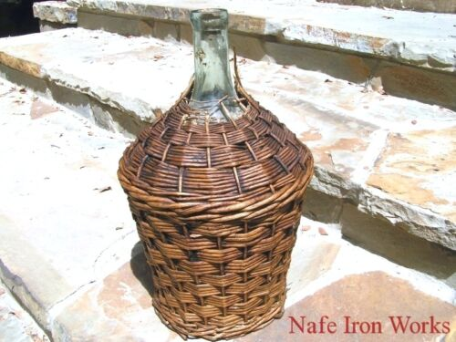 Antique woven Wicker Italian Wine Jug 2177