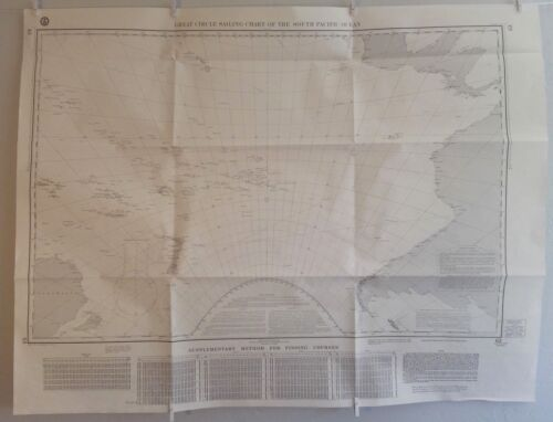 "1970 GREAT CIRCLE SAILING CHART SOUTH PACIFIC OCEAN - DMA Map/Chart 63 - 32""x42""Original Period Items - 13983"