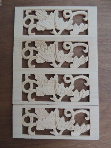 B.Carved Wood Panel 4pcs/set w Grape Leaves