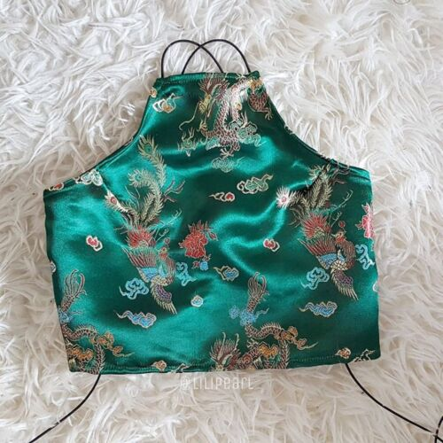 LILIPEARL GREEN SILK SATIN CHINESE DRAGON FLORAL HALTER NECK CROP TOP 6 8 10 12