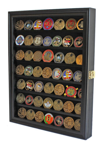 LOCKABLE Challenge Coin Display Case Casino Chip Pin Medal Shadow Box CabinetChallenge Coins - 74710