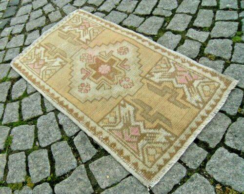 Turkish Door Mat Rug 18'' x 33'' Vintage Muted Dye Hand-Knotted Oushak Area Rug